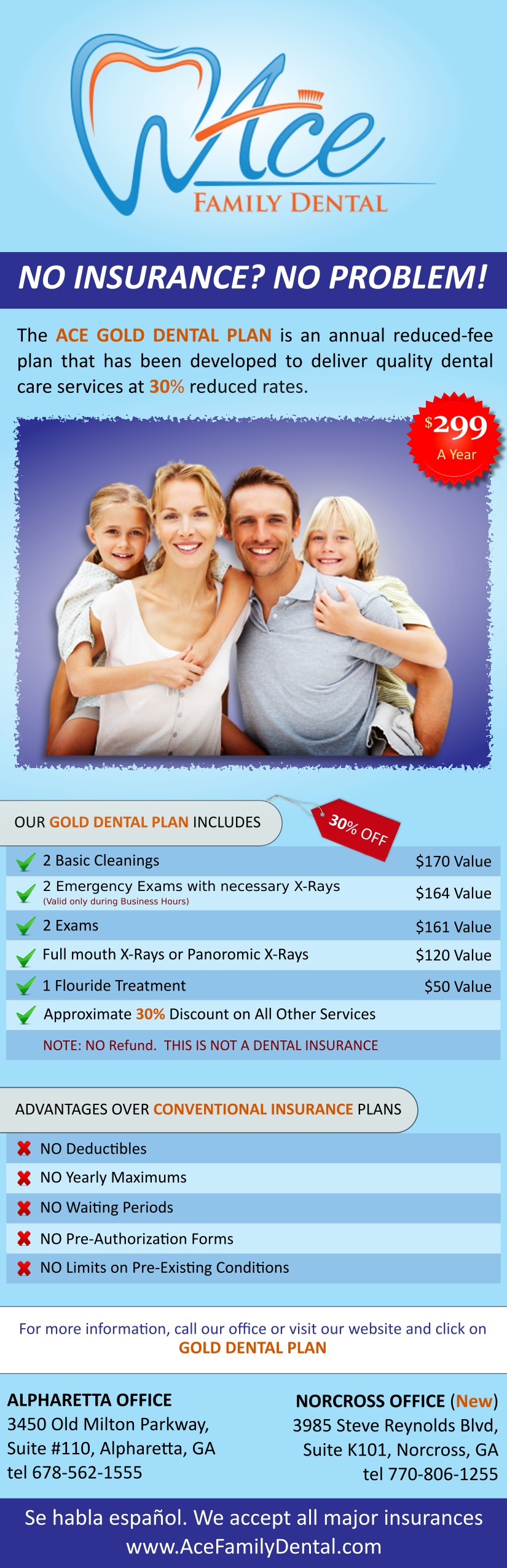 Ace Family Dental Gold Plan Membership
