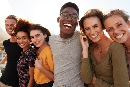happy group smiles